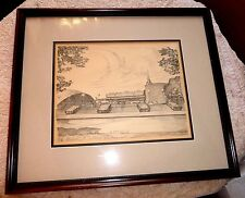 VINTAGE FRAMED CHARLES H. OVERLY PENCIL SKETCH DRAWING M.I.T CHAPEL STUDENT UNIO