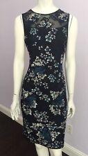 White House Black Market Women's Sleeveless Embroidered Mesh Sheath Dress Size 4