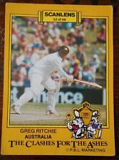 Aust GREG RITCHIE - SCANLENS 1986-87 CLASHES FOR THE ASHES Cricket Card # 52