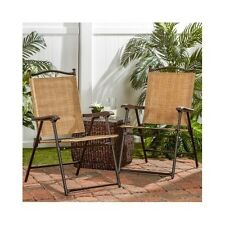 Lawn Chairs Folding UV-resistant Outdoor Patio Garden Pool Camping Seats Set 2