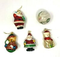 Christmas Ornaments Glass Santa Claus Bear Snowman Flower - Lot of 5 Vintage