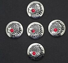 """Southwest Native Style Chief Concho  / Conchos Red Bead 1 3/16"""" Five Count"""