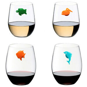 12pcs/set Silicone Marine Animals Wine Glass Marker Drinking Cup Identifier3^lk
