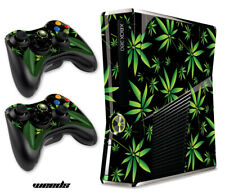 Skin Decal Wrap for Xbox 360 Slim Gaming Console & Controller Xbox360 Slim Weeds