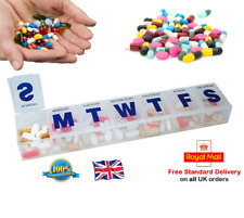 WEEKLY PILL BOX Pill Organiser Holder 7 Compartments Medical Tablet Box (0227)