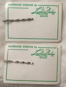 Two (2) New Sterling Silver Bobby Pins On Original Cards Free USA Shipping