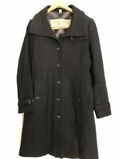 Burberry Brit Rushfield Black Camel Check Wool Blend Single Breasted Coat Size 6