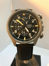 Pulsar By Seiko Men's Chronograph Date Display Black Leather StrapWatch PS6053X1