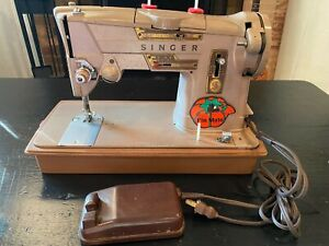 Vintage Singer 328K Sewing Machine Style-o-Matic Heavy Duty w/ pedal/attachments