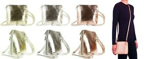 Handbag Bliss Italian Leather Small Cute Metallic Cross Body Shoulder Handbag