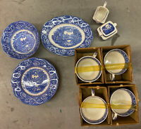 River Scene Canterbury 28 Pc SET Ironstone Made in England Hand Engraved NEW