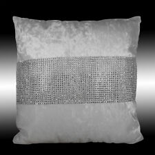 SHINY BLING SILVER WHITE THICK VELVET DECO CUSHION COVER THROW PILLOW CASES 17""