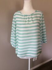Love & Pebbles Green White Striped 3/4 Sleeve Top Size 8 EUC