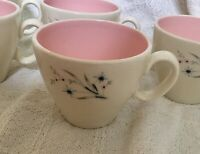 Set 5 Taylor Smith Windemere Pink Grey Cups Midcentury Ever Yours Atomic Floral