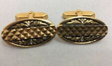Pair Men's Cufflinks Oblong Gold Geometric Design Cuff Links with Angled Stud