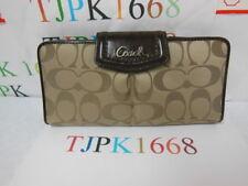 NWT COACH~Khaki / Mahogany~Ashley Signature Sateen Slim Envelope Wallet F48096