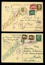 ITALY 1943 STATIONERY UPRATED + MULTI CENSORED to FRANCE + SWITZERLAND...2 CARDS