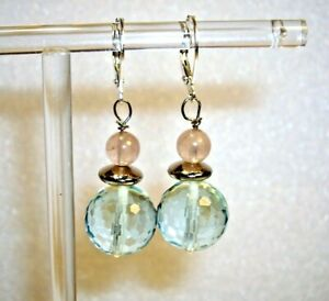 FACETED AQUAMARINE & ROSE QUARTZ BEAD EARRINGS W' 925 STERLING.SILVER FITTINGS