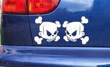 75 mm (7.5 cm) X 2 Skull Vinilo Die Cut Stickers Calcomanías Ken Hoonigan hooning Bloque