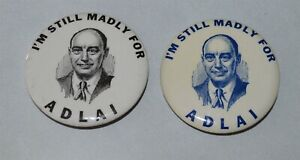 2 Rare I'm Still Madly For Adlai Stevenson pinback buttons Western Badge
