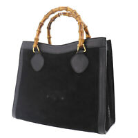 GUCCI Bamboo Tote Hand Bag Black Suede Leather Italy Vintage Authentic #ZZ415 O