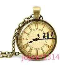 Vintage Peter Pan And clock Cabochon Bronze Glass Chain Pendant Necklace #1210