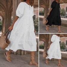 Плюс размер женская половина рукав свободный длинное платье хлопок сплошной простая футболка платье
