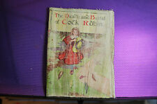 ANTIQUE CLOTH/OIL/ THE DEATH&BURIAL OF COCK ROBIN. 100 YEARS OLD-+ RARE DETAIILS