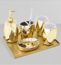 5pcs Gold Bathroom Accessory Set Ceramic bathroom toiletries set toilet articles