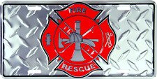 "Fire Dept Diamond License Plate Department Red 6""x12"" License Plate Tag Made USA"