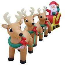 Christmas Air Blown LED Inflatable Yard Decoration Santa Claus Reindeer & Sleigh
