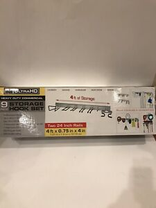 "Seville Classics UltraHD Commercial 9 Piece Storage Hook Set 48"" x .75"" x 4"""