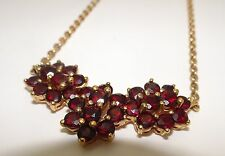 Superbe Collier Fleurs Vintage Or Massif  375 & Grenat gold & garnet necklace