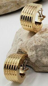 Italian Wide Hoops/Earrings in 14Kt Yellow Gold. Omega Clip