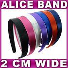 Satin ALICE BAND 2cm WIDE headband fabric head hair band aliceband 7 colours NEW