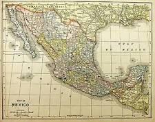 1905 Mexico Antique color map original authentic