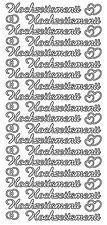 * Aufkleber Sticker Stickerbogen Schriftzug Hochzeitsmenü SILBER (553A