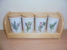 Set of 4 vintage ceramic spice jars, herbs, flowers, wooden rack shelf