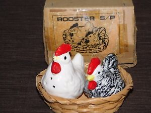 VINTAGE KITCHEN SALT & PEPPER SHAKERS CERAMIC CHICKEN ROOSTER in BASKET
