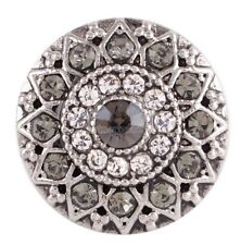Silver Clear Gray Rhinestone 20mm Snap Charm Interchangeable For Ginger  Snaps