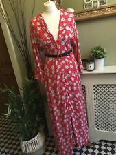 Zara Red Floral Button Front Plunge V Neck Flowing Long Maxi Dress ️medium