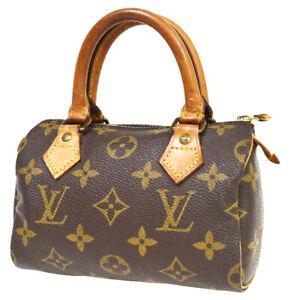 LOUIS VUITTON Mini Speedy Hand Bag Monogram Leather Brown France M41534 32BU208