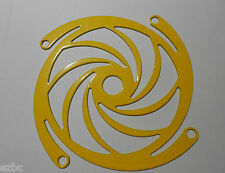 "NEW LOT OF (3) 80mm STEEL LASER CUT FAN GRILL GUARD YELLOW ""TURBINE"""