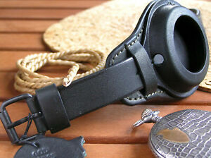 Black WW1 WRIST STRAP for MILITARY POCKET WATCH VINTAGE LEATHER BAND CASE 48-54