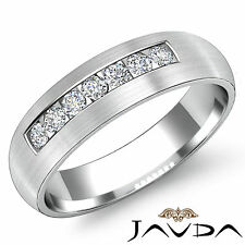 Mens Round Cut Channel Set Diamond Half Wedding Band Ring 18k White Gold 0.70Ct