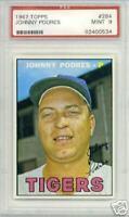 1967 Topps JOHNNY PODRES #284 PSA 9 MINT Detroit Tigers Brooklyn LA Dodgers