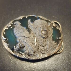 USA Bergamot Red Indian And Eagle Spirit Brass Buckle