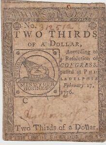 """1776 FEB 17, $2/3 TWO THIRDS DOLLAR, """"FUGIO"""", Continental Currency, CC-22, VF"""