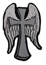 12 x 8 inch. CROSS WITH ANGEL WINGS  Embroidered Bikers CENTER PATCH
