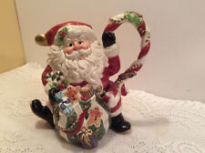 "1996 Fitz & Floyd Sugar Plum Santa 1 1/2 Quart Pitcher 9 1/2"" Tall"